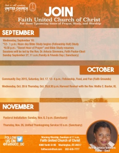Join us for any of these fellowship or worship experiences.